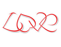 The word love of woven hearts Royalty Free Stock Photography