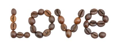 Word Love written with coffee beans Stock Photo
