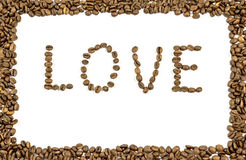 The word love written with coffee beans and frame made of coffee Royalty Free Stock Images