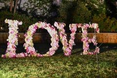 The word love written in flowers