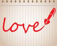 Word love written with heart shaped fountain pen Royalty Free Stock Photography