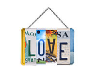 Word love written with recycled license plates Stock Photography