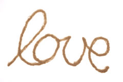 Word love written with sand Royalty Free Stock Photos