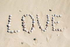 Word love written on the sand with sea shells at sunset on the beach Royalty Free Stock Images
