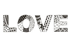 Word love zentangle stylized on white background, vector, illust Royalty Free Stock Photography