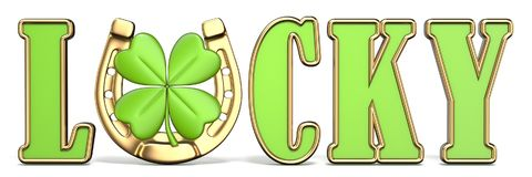 Word LUCKY with horse-shoe and four-leaf clover Front view 3D Stock Image