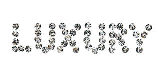 Word  luxury  made by ​​with rhinestones Stock Photography