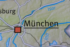 The word MÜNCHEN on the map Royalty Free Stock Image