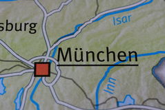The word MÜNCHEN on the map Royalty Free Stock Photography