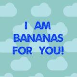 Word m'écrivant à texte suis des bananes pour vous Concept d'affaires pour à être fou pour quelqu'un en ciel bleu aimé d'émotion  illustration de vecteur