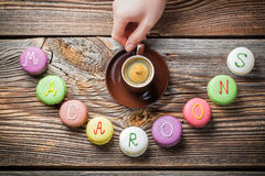 Word of macaroons and coffee Royalty Free Stock Photography