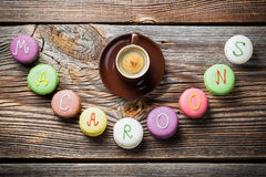 Word of macaroons and espresso Stock Photography