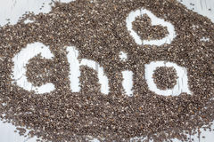 Word made from chia seeds. On a white background Stock Photography