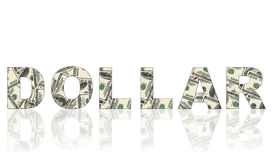Word made of dollars. Word dollar made of dollars on white background Royalty Free Stock Image