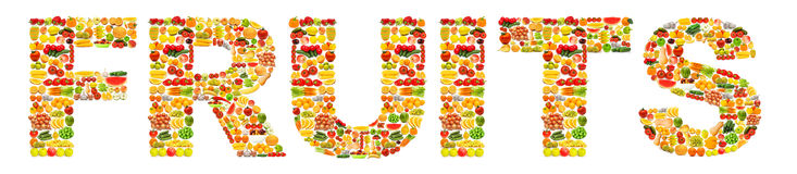 Word made of fruits stock images