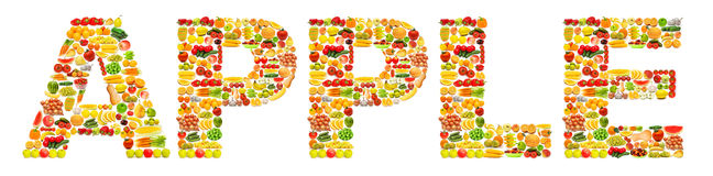 Word made of  fruits Royalty Free Stock Photos