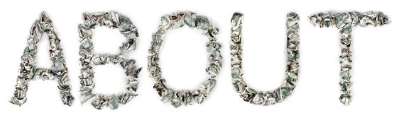 About - Crimped 100$ Bills. The word 'about', made out of crimped 100$ bills Stock Image
