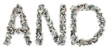 And - Crimped 100$ Bills. The word 'and', made out of crimped 100$ bills Royalty Free Stock Photography