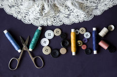 Word made of sewing kit. Sewing kit in the shape of word WORK Royalty Free Stock Image