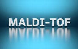 Word MALDI TOF. Written in large bold white letters and placed on blue background over reflective surface. Mass spectrometry concept. 3d illustration stock illustration