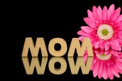Word mamma in cork met madeliefje Stock Foto