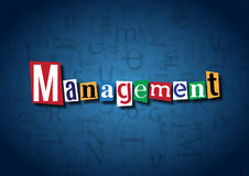 The word Management made from cutout letters. On a blue background Stock Photos