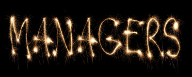 Word managers written sparkler Stock Image