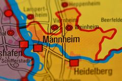 The word MANNHEIM on  the map Royalty Free Stock Image
