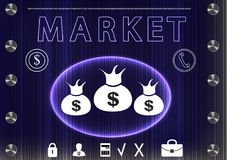 Word `market` on a dark background Royalty Free Stock Images