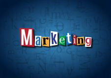 The word Marketing made from cutout letters. On a blue background Royalty Free Stock Photos