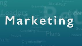 Light blue background with subject words, which deal with marketing. The bold word appears from connected concept words royalty free illustration