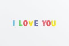 Word marque avec des lettres je t'aime l'alphabet Images libres de droits