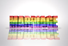 Word Marriage with Rainbow Gay Flag. Text Marriage with Rainbow Gay Flag on a white background vector illustration