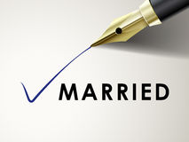 The word married on paper with fountain pen Stock Photo