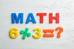 Word MATH and equation of magnetic letters on wooden background. Top view royalty free stock image