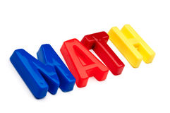The word math spelled out in toy letters Royalty Free Stock Photo