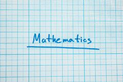 The word `mathematics` is close-up. vector illustration