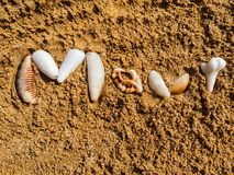 The Word Maui Written in the Sand with Shells stock photo