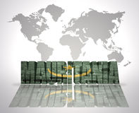 Word Mauritania on a world map background. Word Mauritania with Moorish Flag on a world map background Stock Image