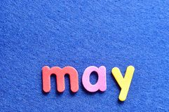 May on a blue background Royalty Free Stock Image