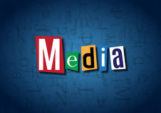 The word Media made from cutout letters. On a blue background Royalty Free Stock Photos