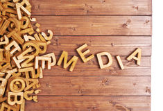 Word media made with wooden letters Stock Images