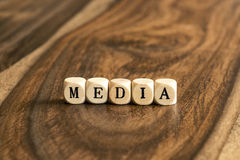 Word MEDIA on wooden cubes Stock Photography