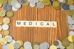 Word MEDISCH op houten kubus met muntstukkenkader bij houten achtergrond Bedrijfsfinanciën en investeringsconcept stock afbeelding