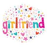 Word meisjetypografie die decoratieve teksten van letters voorzien Stock Afbeelding