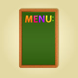 Word Menu on Green Blackboard Royalty Free Stock Photography
