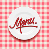 Word Menu - made with red sauce on plate Stock Images