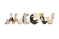Word MEOW of cats. Vector flat illustration Stock Images