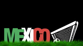 Word Mexico and soccer ball in the gate on the grass Royalty Free Stock Photography
