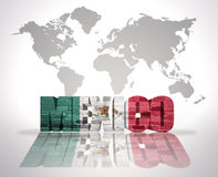 Word Mexico on a world map background Royalty Free Stock Images